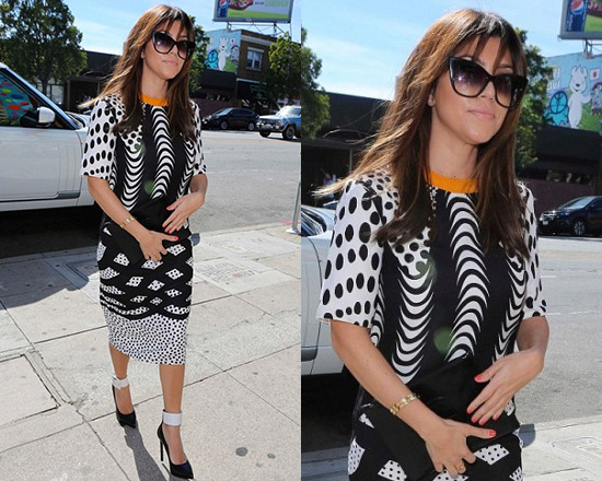 Kourtney Kardashian wearing ASOS Monoclash print t-shirt dress