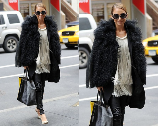 Nicole Richie wearing Helmut Lang Mongolian Fur Jacket and Stella McCartney Silk Chiffon Blouse