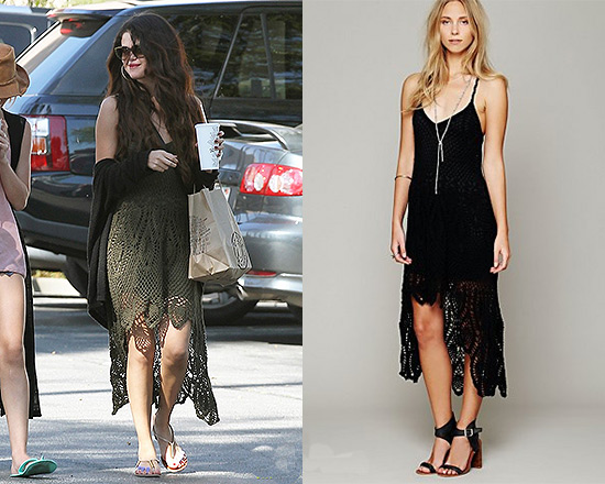 Selena Gomez steps out in Free People Bella Donna Dress and Steve Madden Hamil Sandals