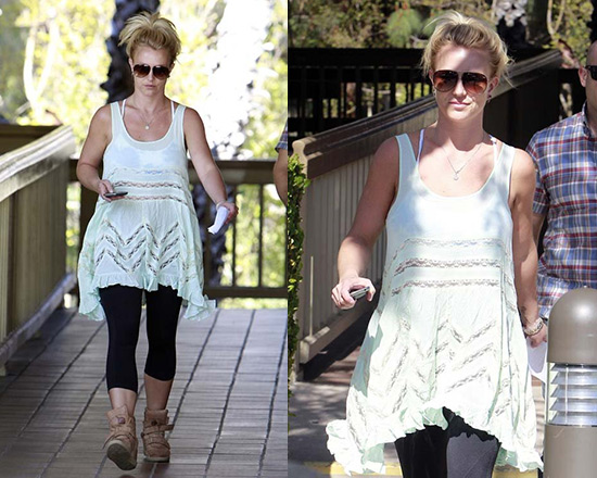 Britney Spears wearing Free People Voile and Lace Trapeze Slip
