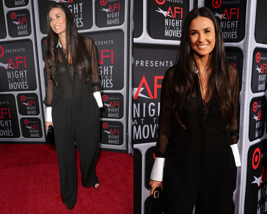 Demi Moore in Valentino Sheer Tailored Jumpsuit