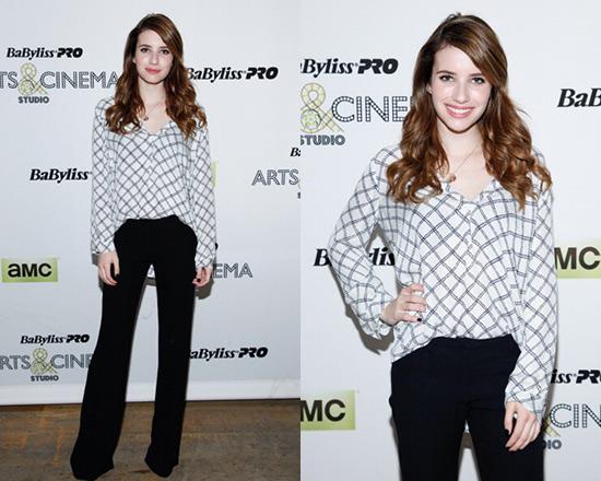 Emma Roberts wearing Joie Lerona Print Plaid Blouse