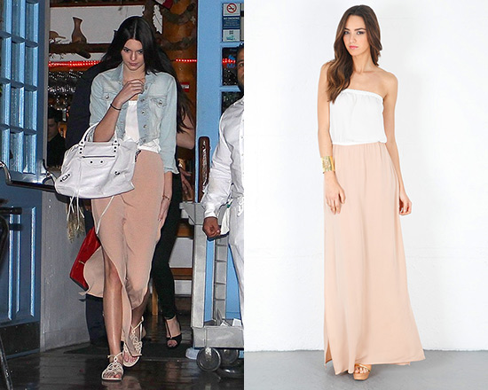 Kendall Jenner wearing Chelsea Flower Combo Strapless Maxi Dress