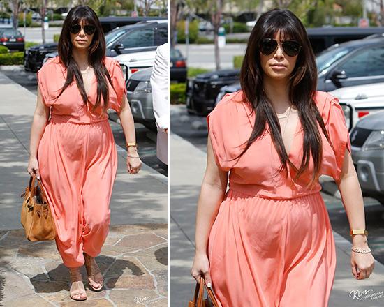 Kim Kardashian wearing Myne Heidi Dress in Coral