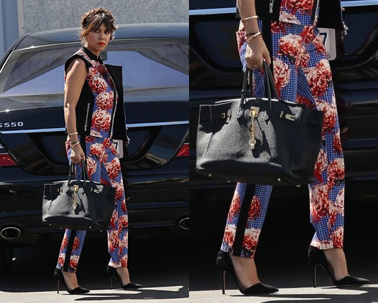 e12dccaac4bc95 Kourtney Kardashian steps out in L.A.M.B. Wicked Sunset Floral Pants