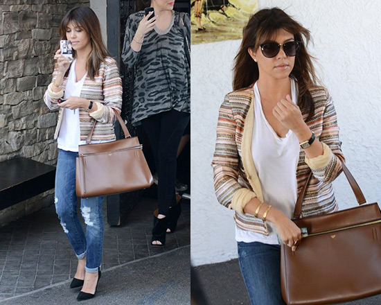 Kourtney Kardashian wearing Love sam Embroidered Stripe and Sequin Jacket