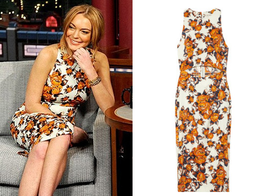 45d5687c0876 Lindsay Lohan wearing Suno Floral-print Dress on David Letterman