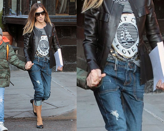 Sarah Jessica Parker wearing Lauren Moshi Margo Foil Yacht Club Striped Pullover