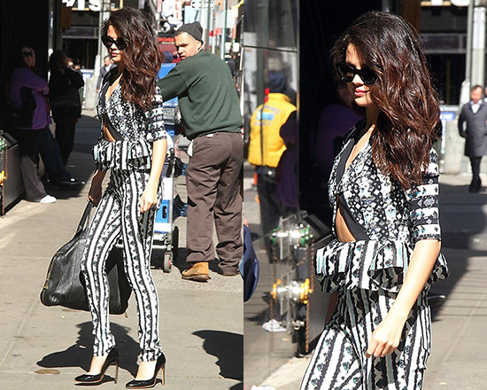 Selena Gomez wearing Peter Pilotto Lara Peplum Top and Printed Trousers
