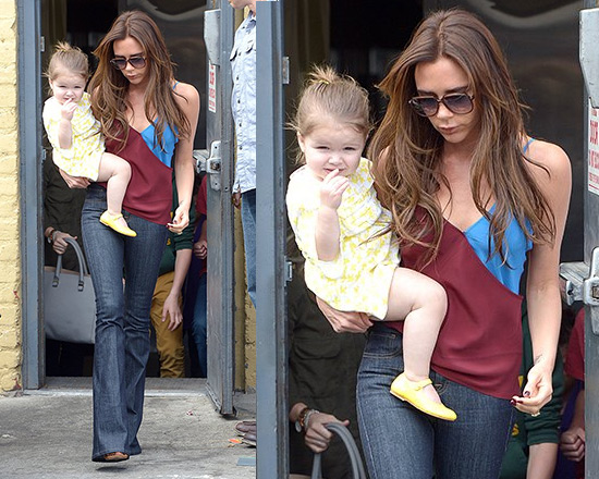 Victoria Beckham steps out in Jonathan Saunders Ginger two-tone Camisole