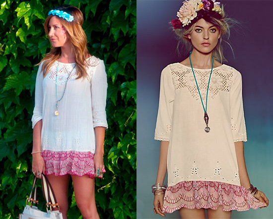 Ashley Tisdale in Free People Springtime Lattice Tunic