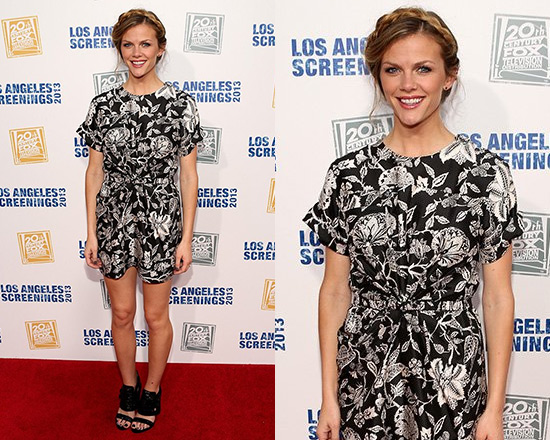 Brooklyn Decker in Isabel Marant Tilda Hawaiian Modern Silk Dress in Black Floral