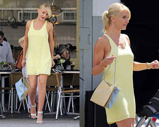 Cameron Diaz films new movie in Balenciaga Square jacquard silk dress