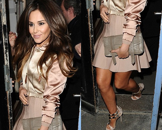 Cheryl Cole wearing Burberry Bomber Jacket and Herve Leger Sabine Skirt