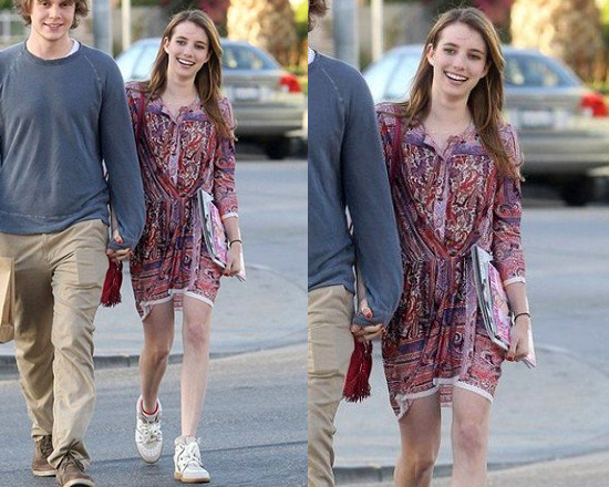 Emma Roberts in Isabel Marant Maryloe mankolam-paisley jersey dress