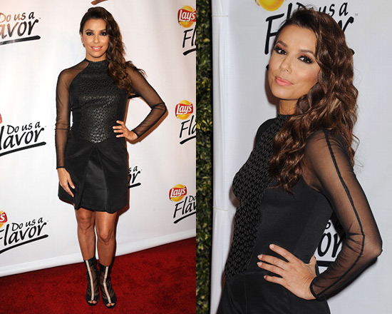 Eva Longoria in Izmaylova Fern dress and Reed Krakoff Boots
