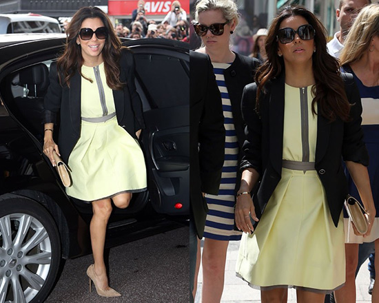 Eva Longoria in Victoria Beckham Twill Dress with Organza Trim