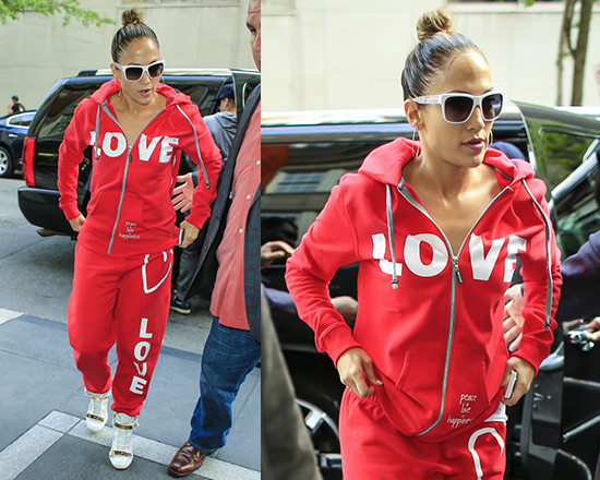 Jennifer Lopez steps out in Peace Love World I Am Love L2L Sweatpants