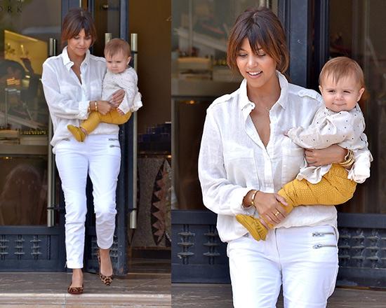 Kourtney Kardashian steps out in Sam&Lavi Callie Top and Monika Chiang Twill Moto Pants