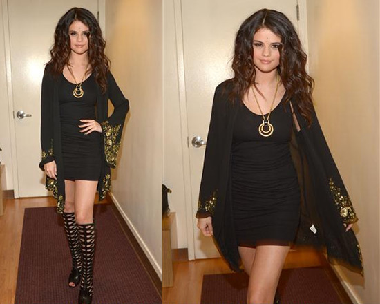 Selena Gomez wearing Pas Pour Toi Wrap Style Dress as Cardigan