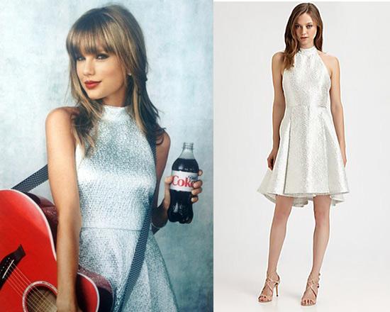Taylor Swift in Alice + Olivia Corina Short Trapeze Dress