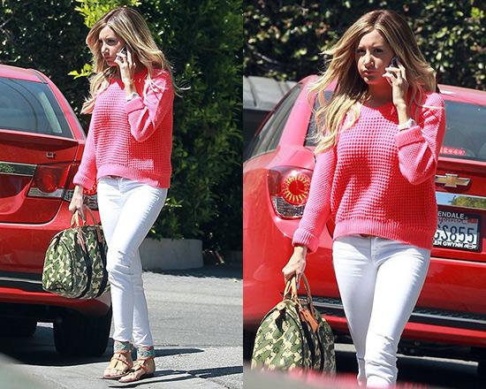Ashley Tisdale wearing Topshop Knitted Fluro Pink Crop Jumper