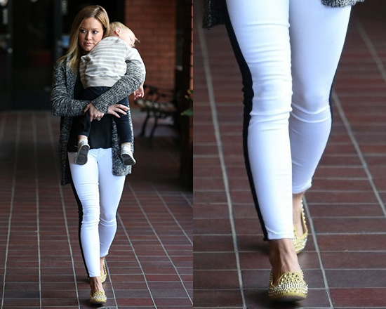 Hilary Duff wearing Hudson Leeloo Color Block Jeans and Prada Studded Smoking Slippers