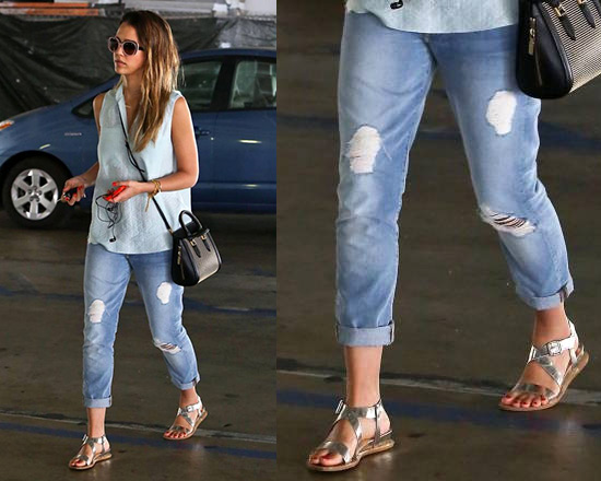 Jessica Alba wearing 7 For All Mankind Josephina Cropped Jeans