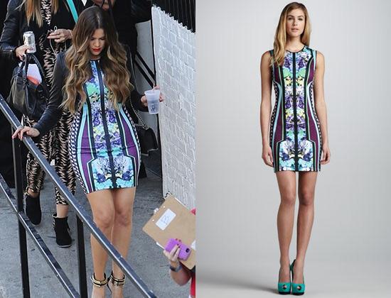 Khloe Kardashian In Clover Canyon Mix Print Neoprene Dress