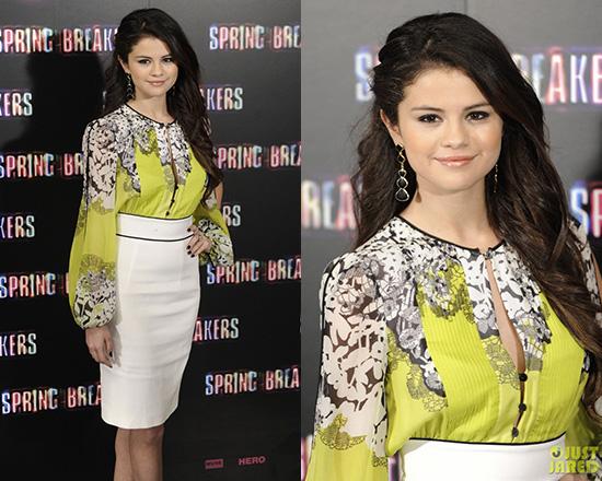 Selena Gomez wearing Blumarine Lemon Silk Dress at Spring Breakers Photo Call