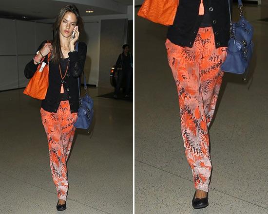 Alessandra Ambrosio wearing Gypsy05 Fern Print Pleat Silk Pants at LAX
