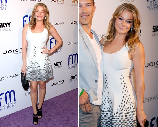 LeAnn Rimes in Gig Exclusive Diamond Lurex Flare Knit Dress