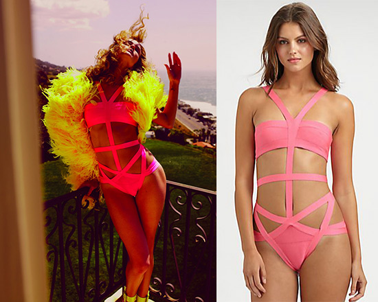 Rosie Huntington-Whiteley wearing Herve leger Cutout One Piece Swimsuit in Neon Pink