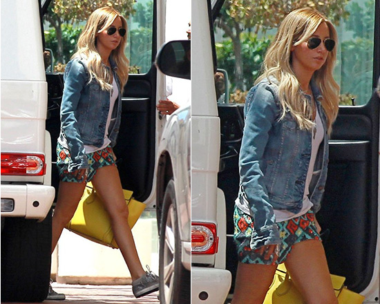 Ashley Tisdale steps out in Free People OXS Sun Valley Studded Sneakers