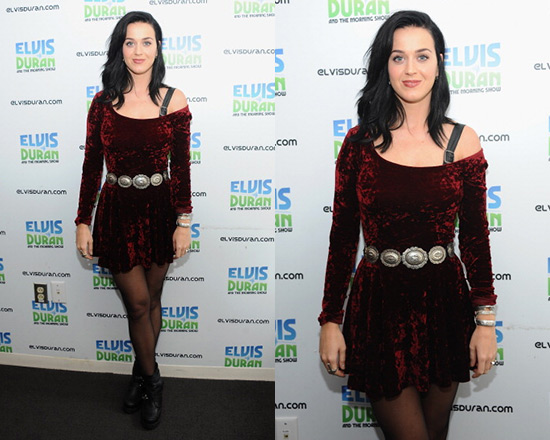 Katy Perry in Lucca Couture Velvet Skater Dress
