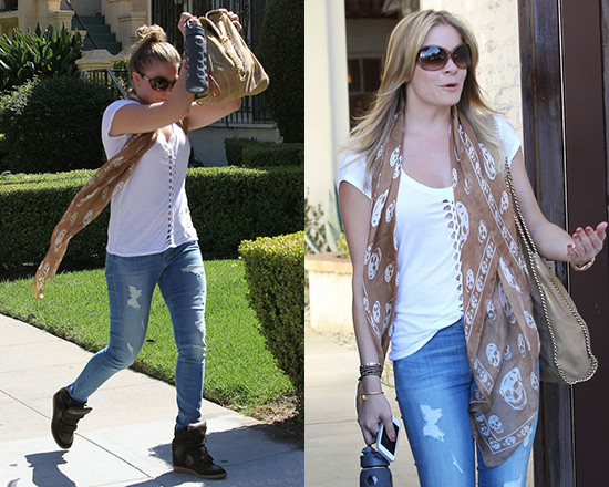 LeAnn Rimes in Monrow Novelty Braided Tee and 7 For All Mankind The Destroyed Skinny Jeans