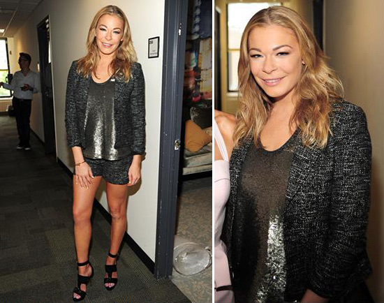 LeAnn Rimes wearing Forever 21's Shibuya Mon Amour Jacket and Shorts