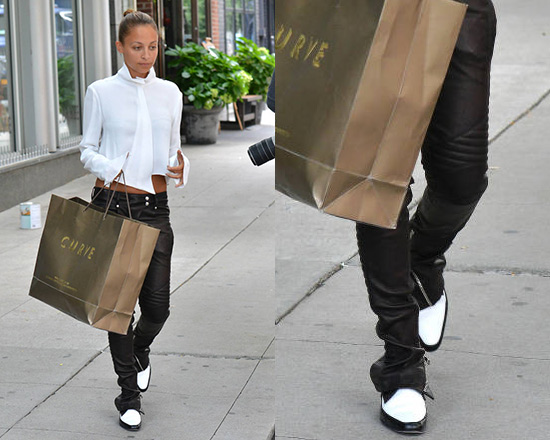 Nicole Richie wearing Balmain Leather Stretch Biker Trousers