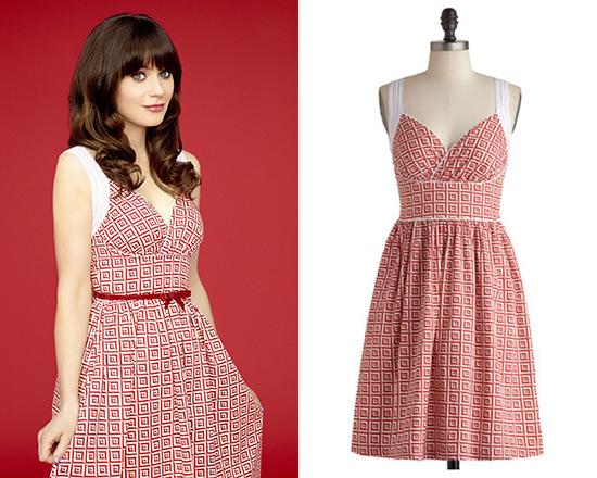 Zooey Deschanel wearing ModCloth Paradise Tile Dress in New Girl Season 3 Promotional Shot