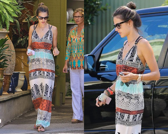 Alessandra Ambrosio in Twelfth st. by Cynthia Vincent Palma Maxi Dress