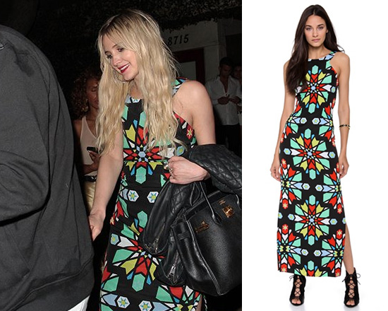 Ashlee Simpson in Mara hoffman Open Back Column Dress