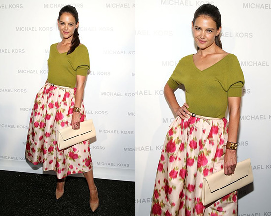 1bd87a5646 Katie Holmes in Michael Kors Off-The-Shoulder Cashmere Top and Full Floral-