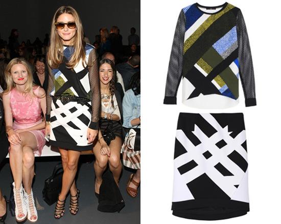 Olivia Palermo in Tibi Nelio Mesh Sleeve Top and Transit Yoked Skirt