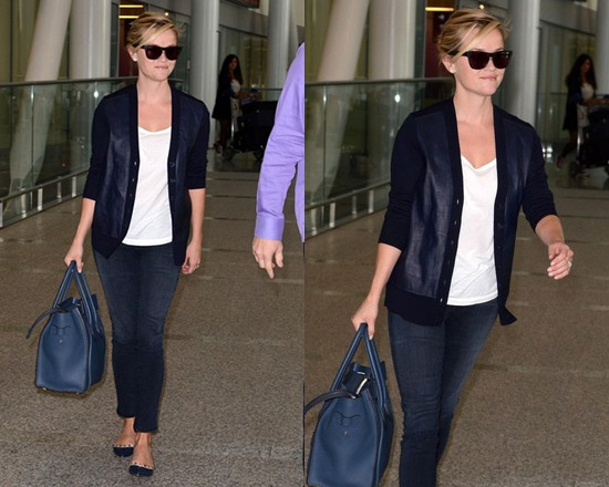 Reese Witherspoon goes Navy in J.Crew Merino Cardigan and Valentino Rockstud Ballet Flats