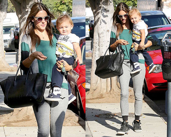 Alessandra Ambrosio in Gypsy05 Cashmere Box Sweater and French Fleece LazyPants