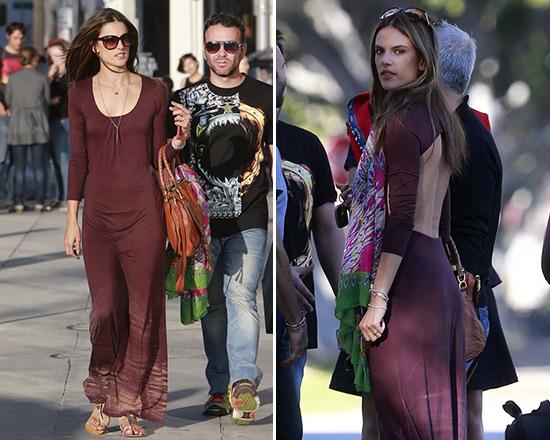 Alessandra Ambrosio in Gypsy05 Vega Long Sleeve Open Back Maxi Dress