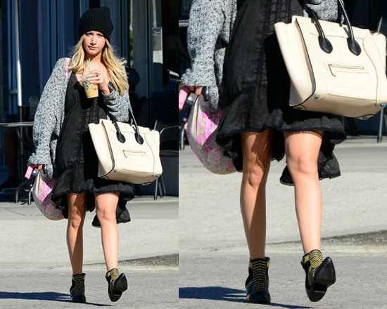 Ashley Tisdale wearing Free People Parisian Slip with Anine Bing Boots