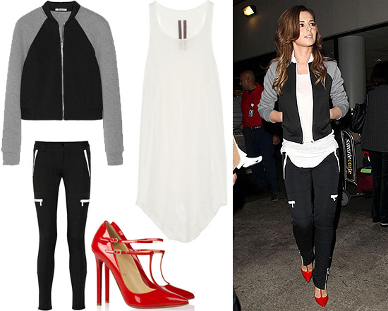 Cheryl Cole T by Alexander Wang Jersey Bonded Neoprene Bomber Jacket