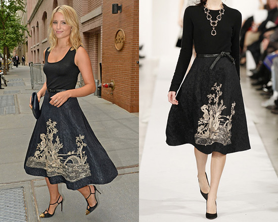 Dianna Agron in Oscar de la Renta Embroidered Jacquard skirt