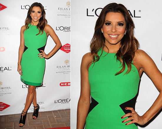 Eva Longoria in David Koma Green/Black Contrast Side Panel Dress with Leather Trim